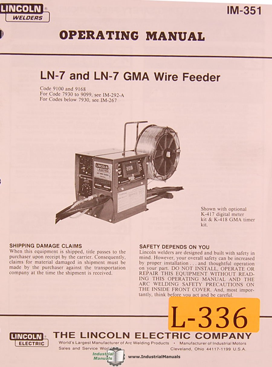 Lincoln LN-7 and LN-7 GMA, Wire Feed Welding, Operations and Parts Manual:  Lincoln: Amazon.com: Books