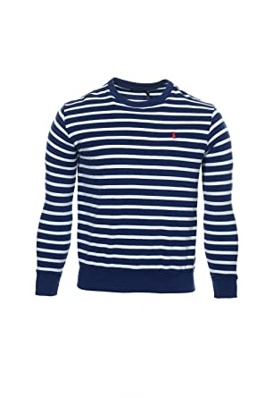Polo Ralph Lauren Men\u0027s Striped Cotton Terry Pullover, Driver Navy/White,  X-Large at Amazon Men\u0027s Clothing store: