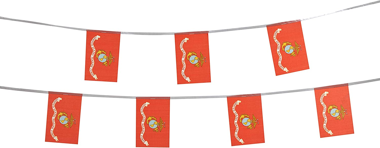 TSMD 100 Feet US Marine Corps Flag Small Mini United States Military Polyester Flags Banner,Decorations Supplies for Army Party Events Celebration