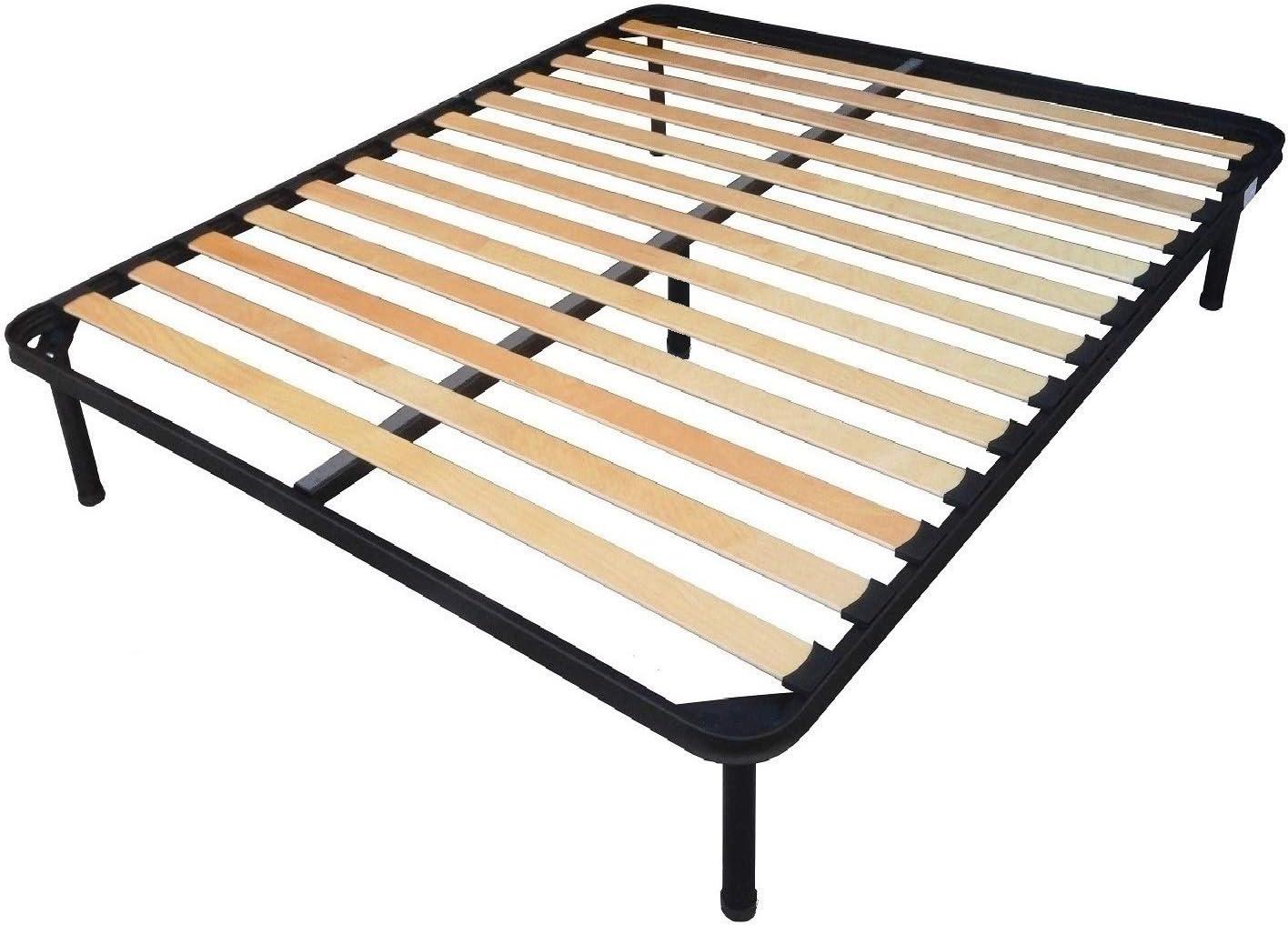 Somier de láminas con pata central para cama de matrimonio de 2 plazas, 160 x 190 cm, armazón totalmente de hierro
