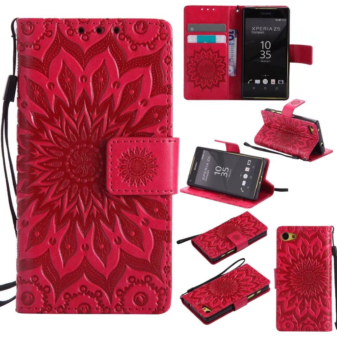cowx Sony Xperia Z5Compact/Z5Mini étui à rabat en cuir synthétique Bookstyle Étui à rabat avec support en silicone souple Housse étui en cuir synthétique pour Sony Xperia Z5Compact/Z5Mini étui portefeuille Coque pour Sony Xperia Z5Compact/Z5Mini Schu