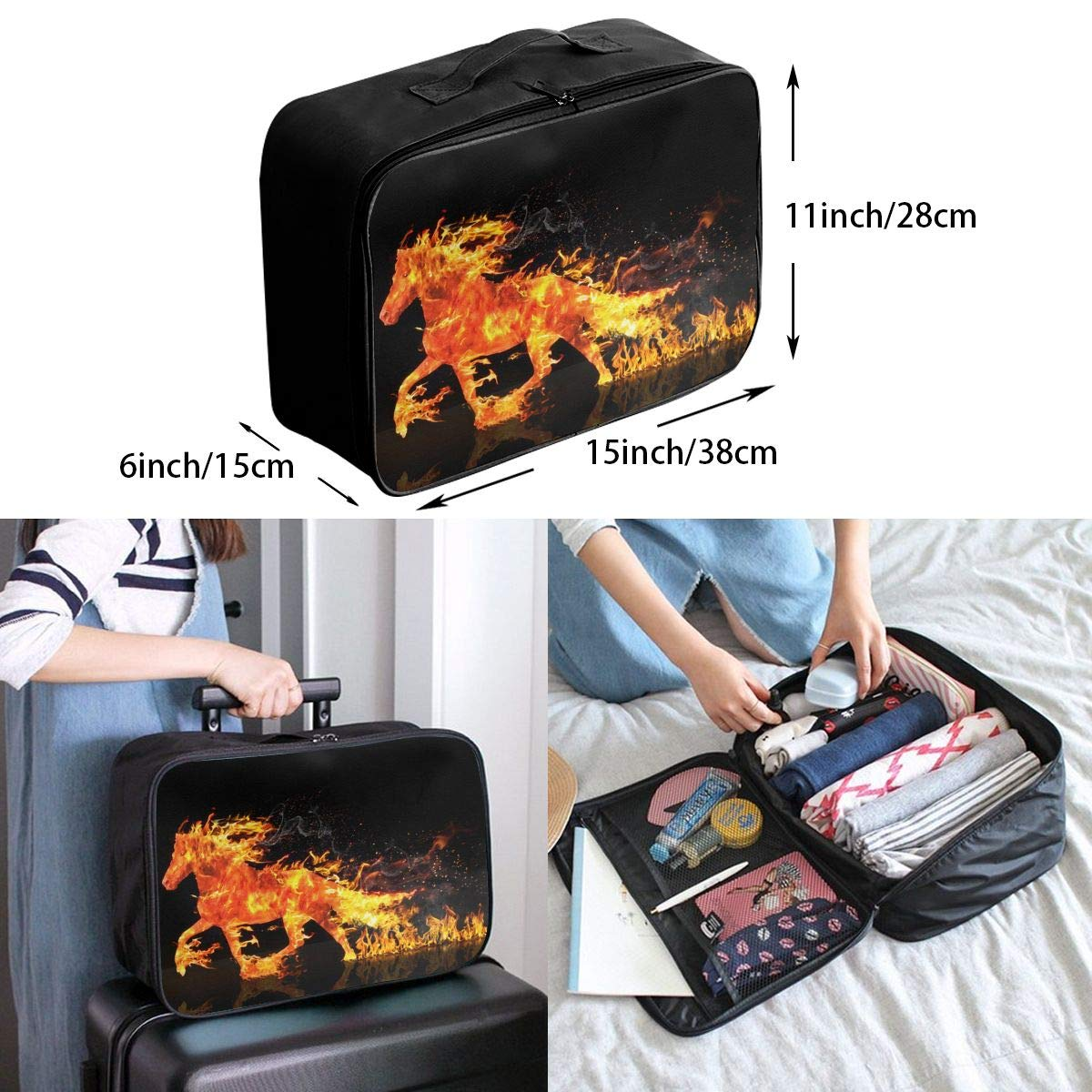 Travel Luggage Duffle Bag Lightweight Portable Handbag Fire Horse Pattern Large Capacity Waterproof Foldable Storage Tote