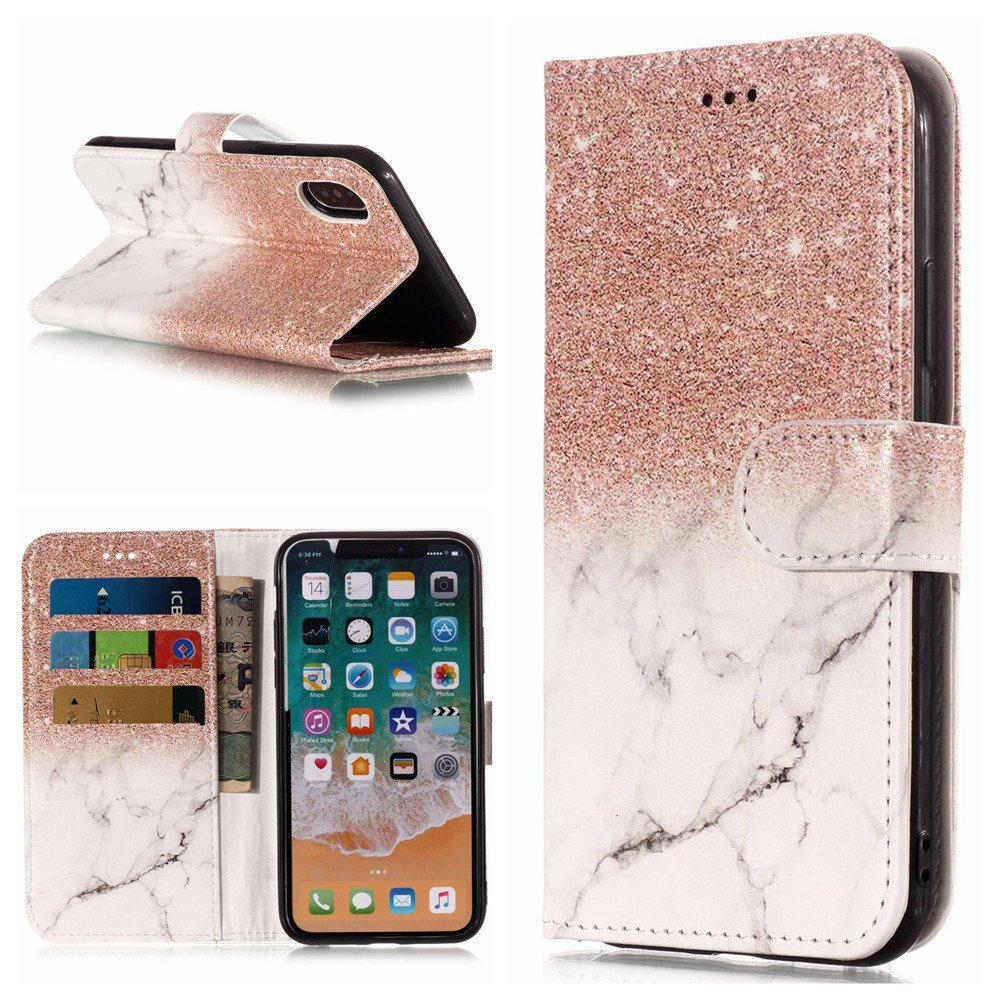 Find box iPhone X Case, Premium Flip Leather PU Wallet Smart Case Stand Kickstand Card Holder Magnetic Closure Clear TPU Bumper Slim thin Cover Case for iPhone X 2017 Rose Gold