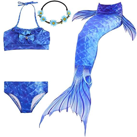 UrbanDesign Traje De Baño Disfraz Cola De Sirena Niña con Bikini para Nadar