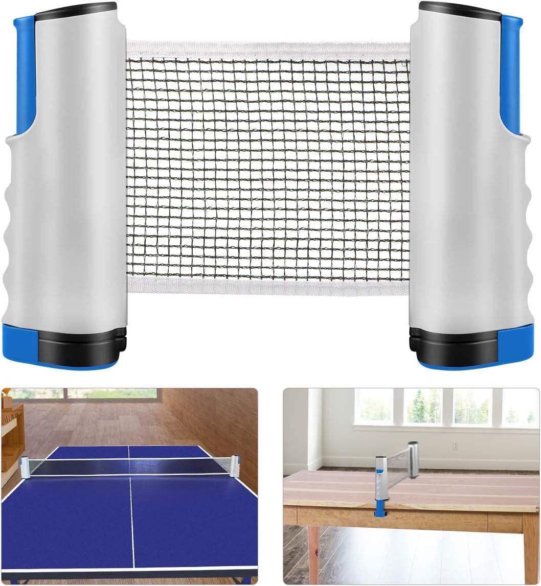 Red de Tenis de Mesa, Repuesto Portátil Retráctil Table Tennis Net - Ping Pong Net para Entrenamiento Abrazaderas, Longitud ajustable 200 (max) x 14.5cm