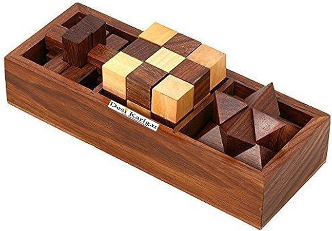 Desi Karigar 3-in-1, 3D Wooden Puzzle Game Set (Brown)