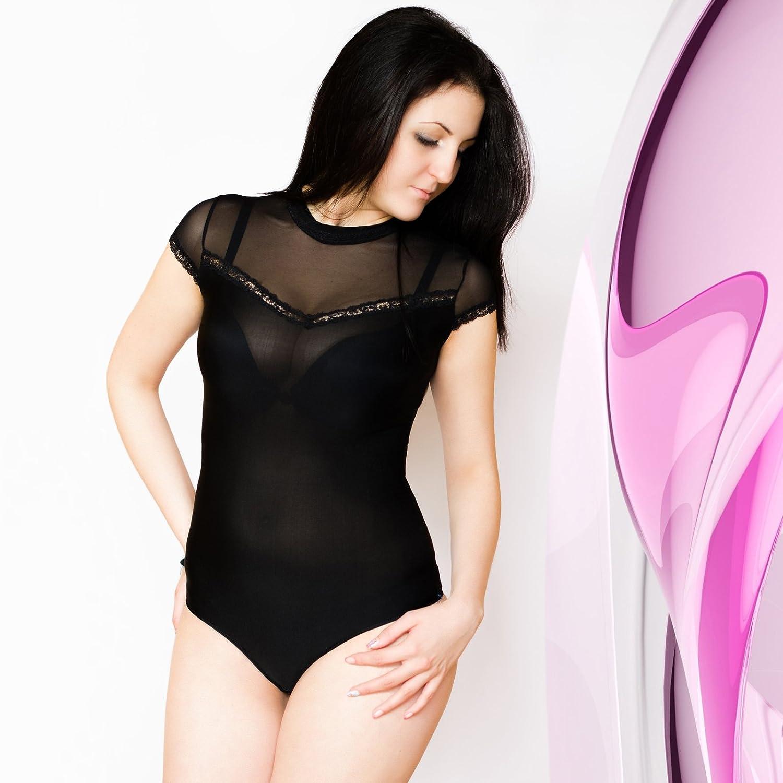2de86ac386c83b Ladies Bodysuit Turtle Neck Mesh Short Sleeve Womens Quality Leotard Body  Top: Amazon.co.uk: Clothing