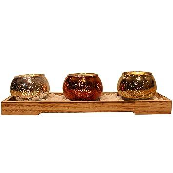 Amazon De Dszapaci Teelichthalter Set Auf Holz Tablett Mit 3