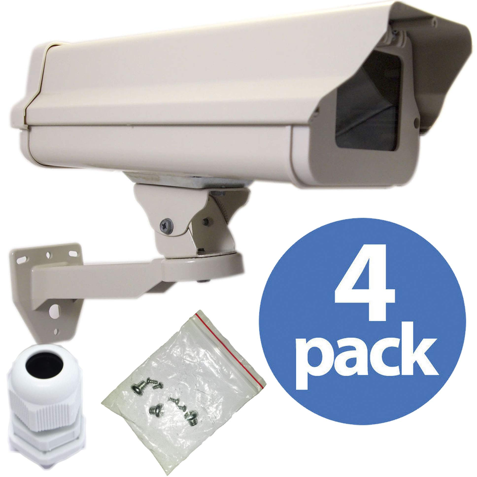 VENTECH (4 PACK) Outdoor Weatherproof Heavy Duty Aluminum CCTV housing Security Surveillance Camera Housing camera Mount Enclosure with Bracket