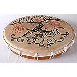 Four Elements Tambour chamanique sur cadre peau naturelle–D50cm–peint–Motif arbre de vie