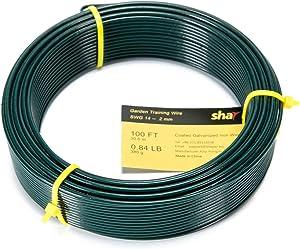 Shayie Green Plastic Coated Garden Training Wire Plant Twist Tie (100 ft, 2 mm)