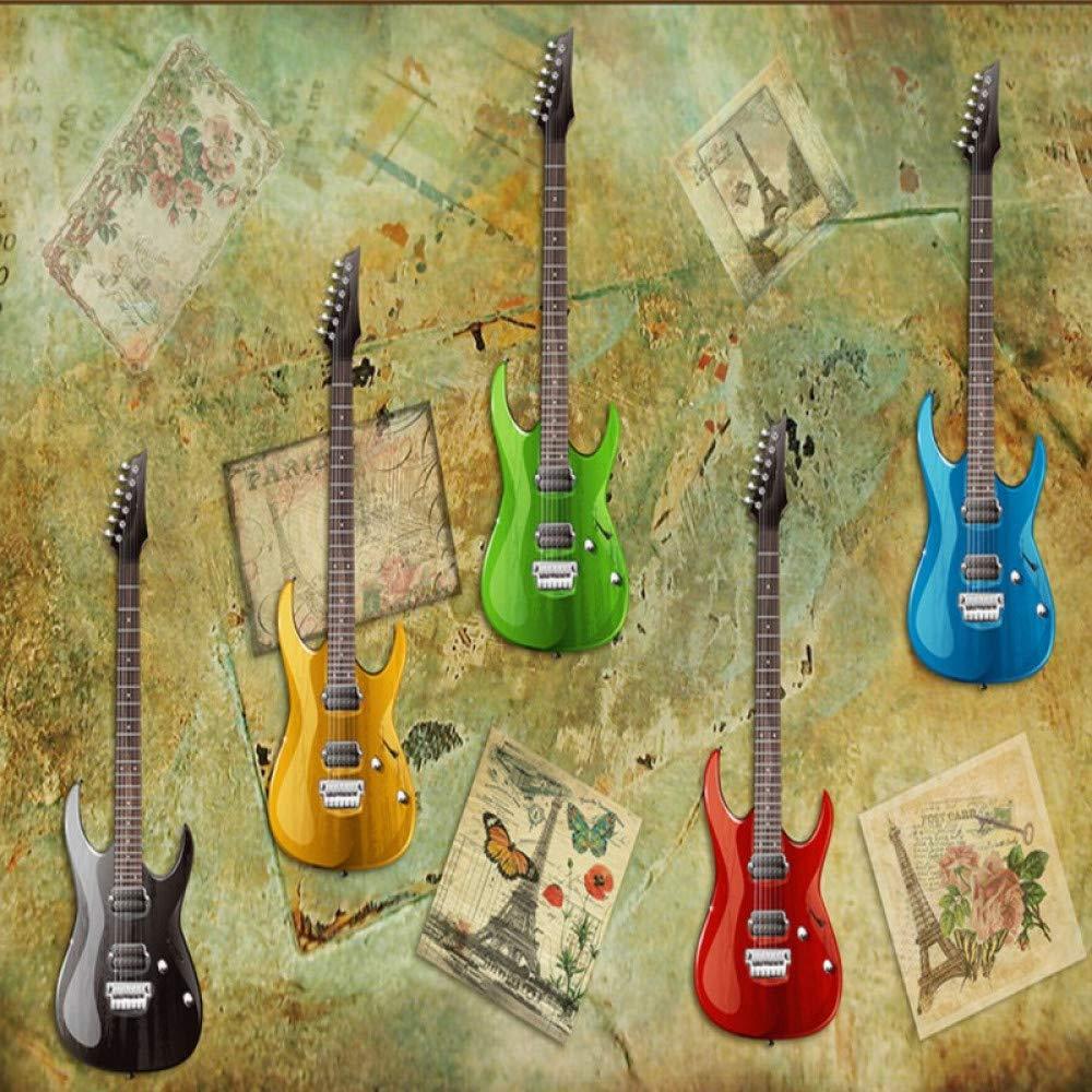 Amazhen Papel Pintado 3D Retro Colorido Guitarra eléctrica Wallpaper Sala de Estar Estudio Bar murales de telón de Fondo Decorativo,200cm*140cm: Amazon.es: ...