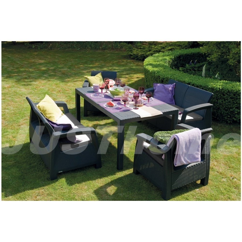 justhome fiesta essgruppe gartenm bel gartengarnitur set. Black Bedroom Furniture Sets. Home Design Ideas