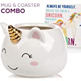 Unicorn Mug & Coaster Set - Unique Hand Painted Novelty 3D Ceramic Coffee Mugs. Includes Cute Coaster With a Fun Always be a Unicorn Phrase. Cool Cup for Coffee Tea or Kitchen Bedroom Decor