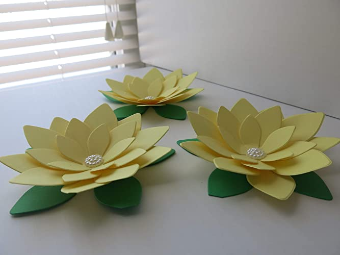 Amazon Com 3 Pastel Yellow Lotus Flowers 4 Paper Sculpted Water