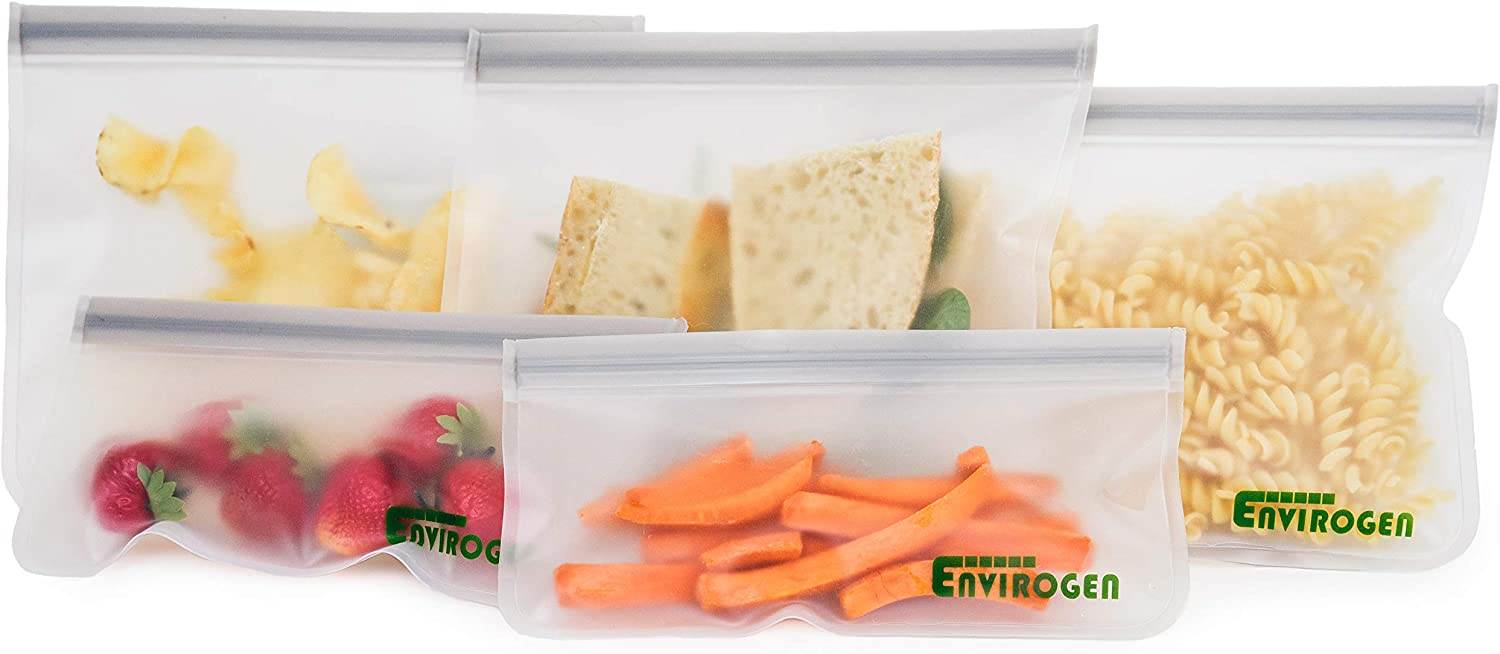 Envirogen 5 Pack Reusable Storage Bags (3 Reusable Sandwich Bags, 2 Reusable Snack Bags), Ziplock, Extra Thick, Leakproof, Freezer Safe Silicone and Plastic-Free Food Bags