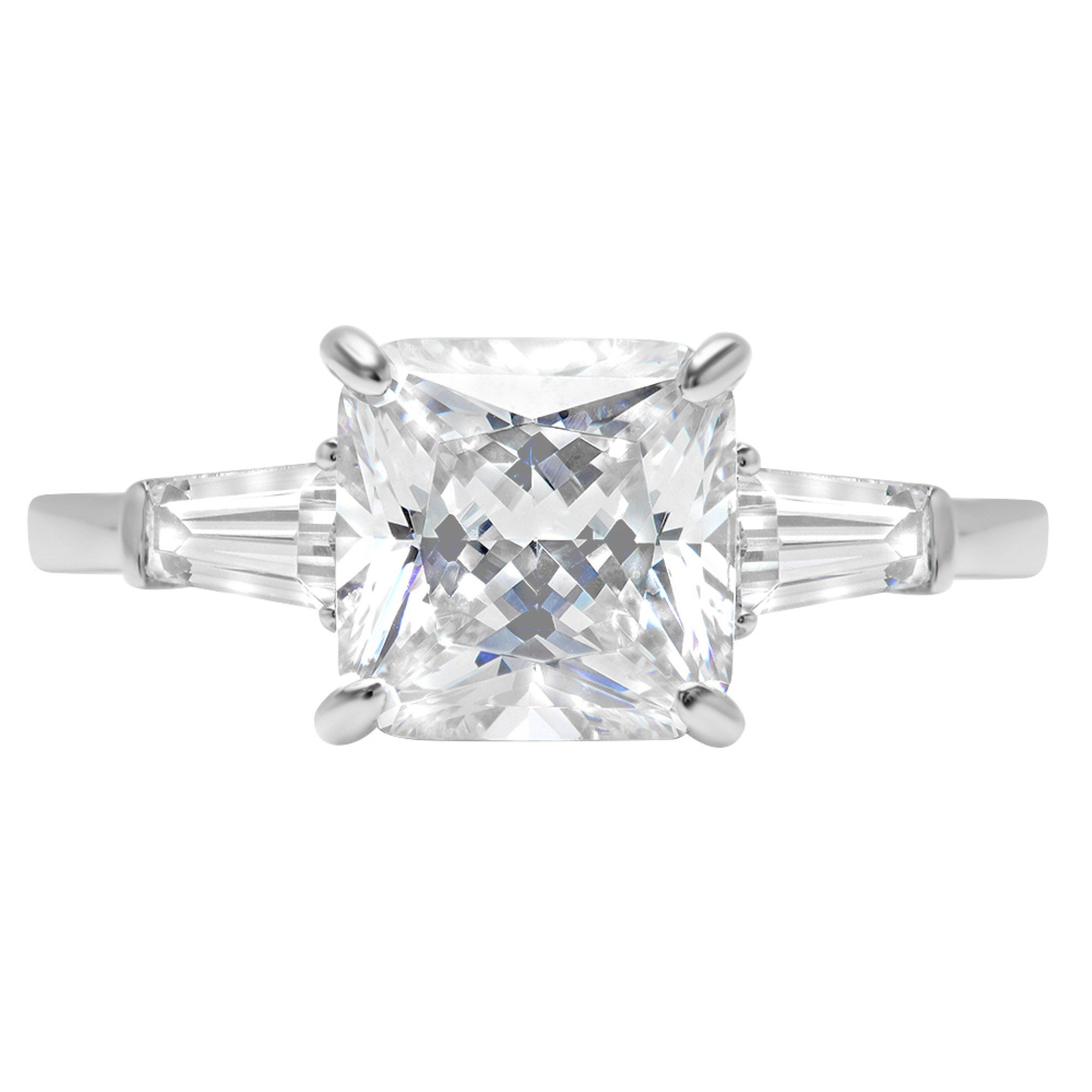 3.5ct Asscher Baguette 3-Stone Classic Solitaire Designer Wedding Bridal Statement Anniversary Statement Engagement Promise Ring 14k White Gold, 5.5