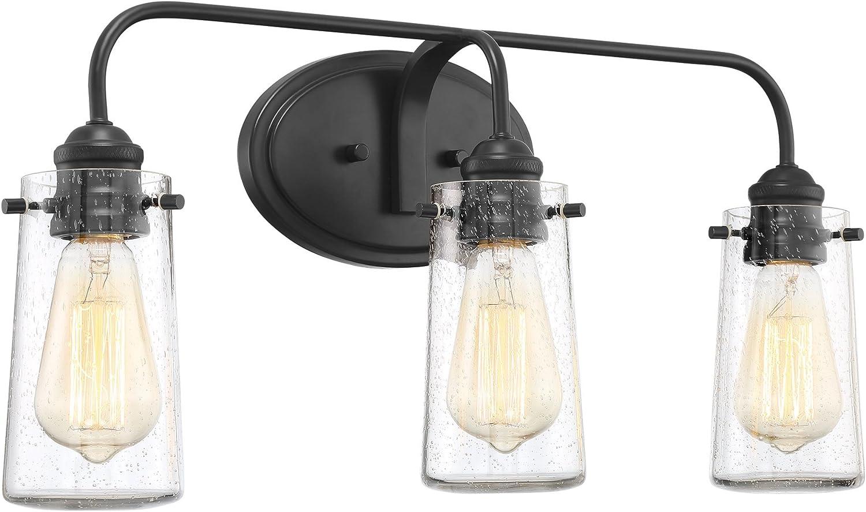 Kira Home Rayne 22.5 Modern 3-Light Vanity Bathroom Light, Seeded Glass Matte Black Finish