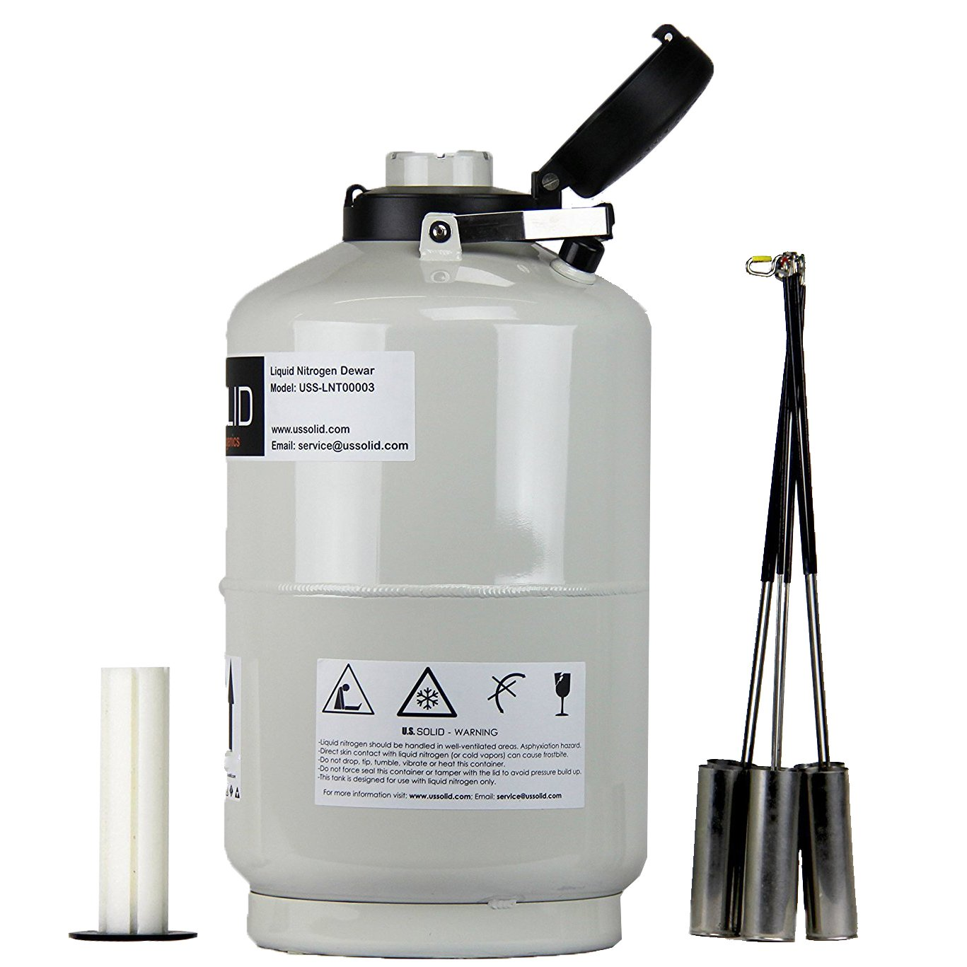 size 40 1bf5f 42edd U.S.SOLID 10L Cryogenic Container Liquid Nitrogen LN2 Tank Dewar with  Straps 6 Canisters