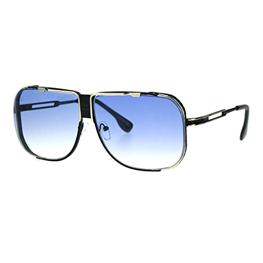 ac45250d8ae Mens Fashion Sunglasses Oversized Square Metal Frame UV400 Black Gold