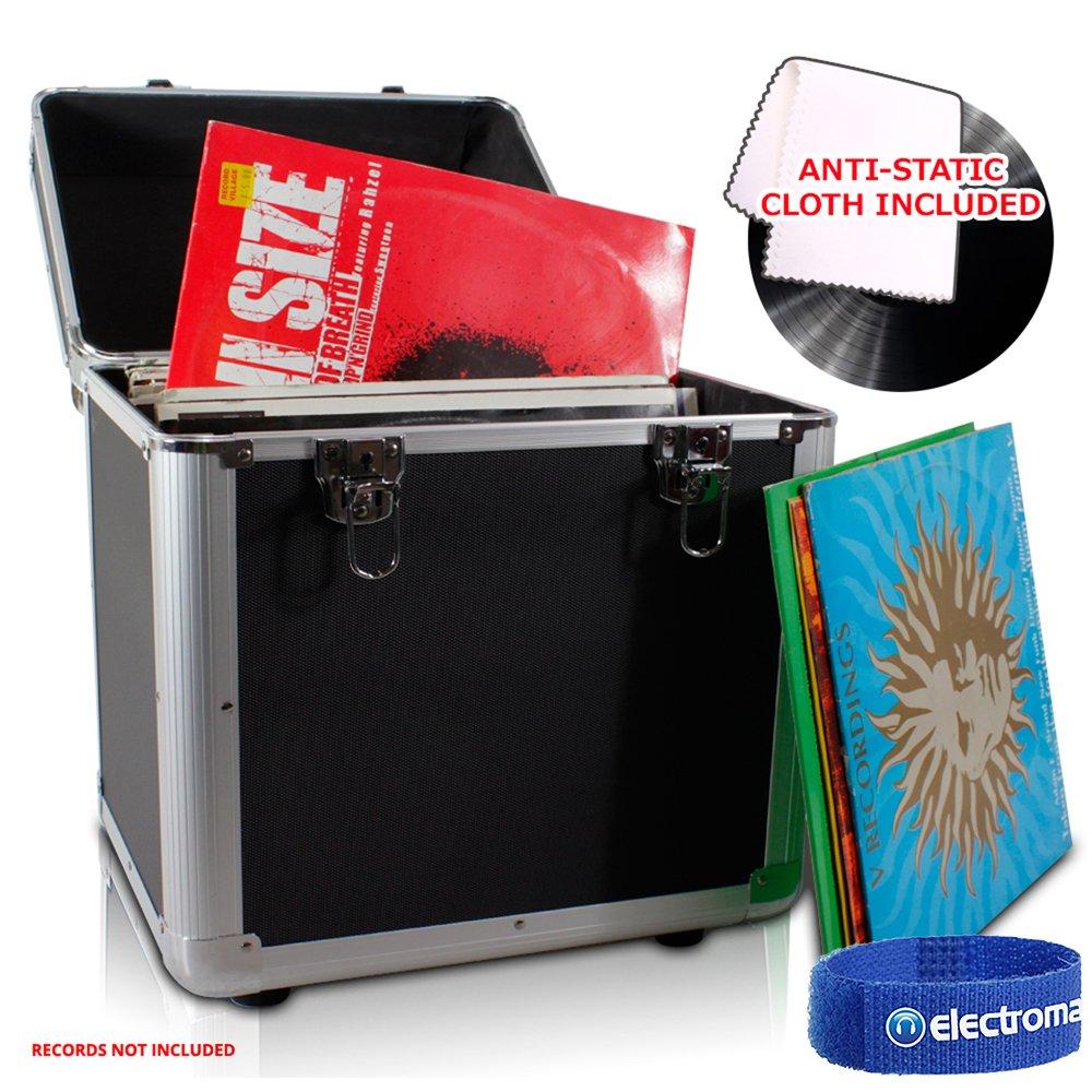 Power Dynamics LP 100 x 12 Vinyl Record Box Storage DJ Case BLACK with Anti-Static Cloth Electromarket