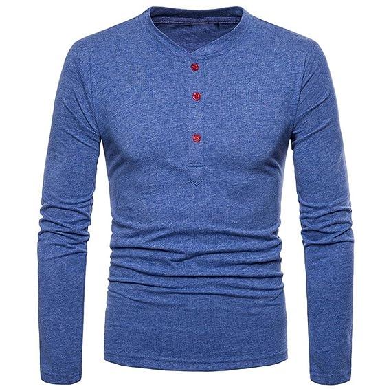Camisas de Hombre,Moda Hombres Personalidad Slim Fit Casual Manga Larga Camisa sólida Blusa Tops