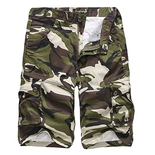 1c3d2673e0 Image Unavailable. Image not available for. Color: Sunyastor Camouflage Short  Pants for Men,Mens Loose Fit Cargo Shorts Camo Multi Pockets Summer