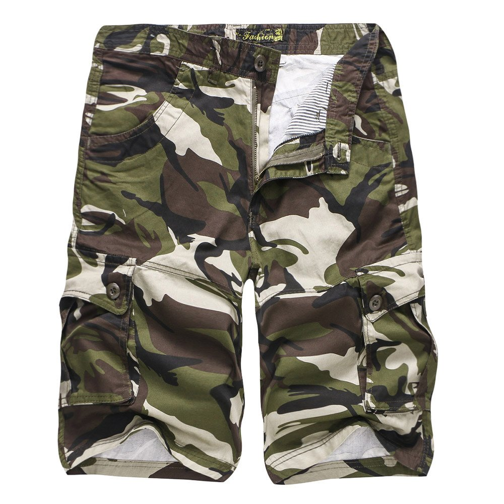 iZHH Men's Camouflage Outdoors Pocket Beach Work Trouser Cargo Shorts Pant(Army Green,28)
