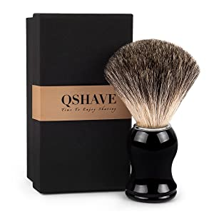 QSHAVE 100% Best Original Pure Badger Hair Shaving Brush Handmade. High Quality Resin Handle. Perfect for Wet Shave, Safety Razor, Double Edge Razor