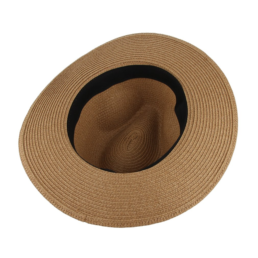 454acf046591 Eozy Men Summer Beach Sunhat Wide Brim Straw Jazz Hat Cap Coffee:  Amazon.co.uk: Clothing