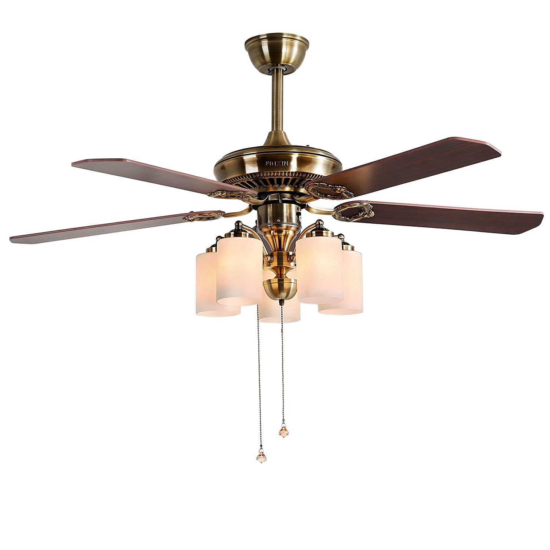 Indoor Ceiling Fan Light Fixtures - FINXIN FXCF07 (2018 New Design) Vintage New Bronze Remote LED 52 Ceiling Fans For Bedroom,Living Room,Dining Room Including Motor,5-Light,5-Blades,Switch