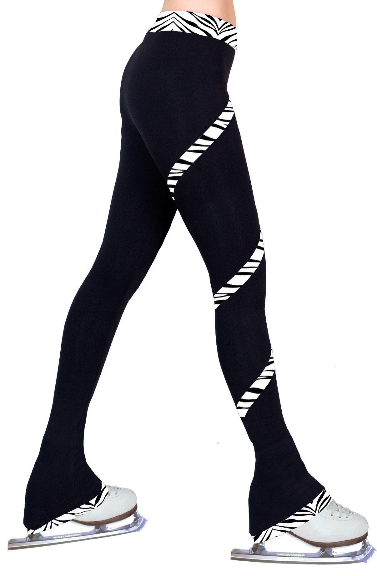 ny2 Sportswear Figure Skating Spiral Polartec Polar Fleece Pants (Zebra White, Adult Medium) by ny2 Sportswear