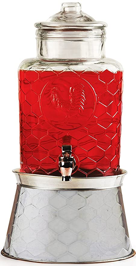 Circleware gallo vidrio Bebidas Dispensador de bebida con tapa de cristal, cristal mango y espiga