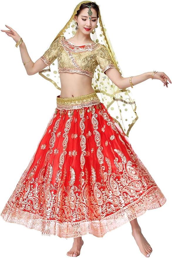 DRESSS Disfraz de Sari Indio para Danza del Vientre para Mujer ...