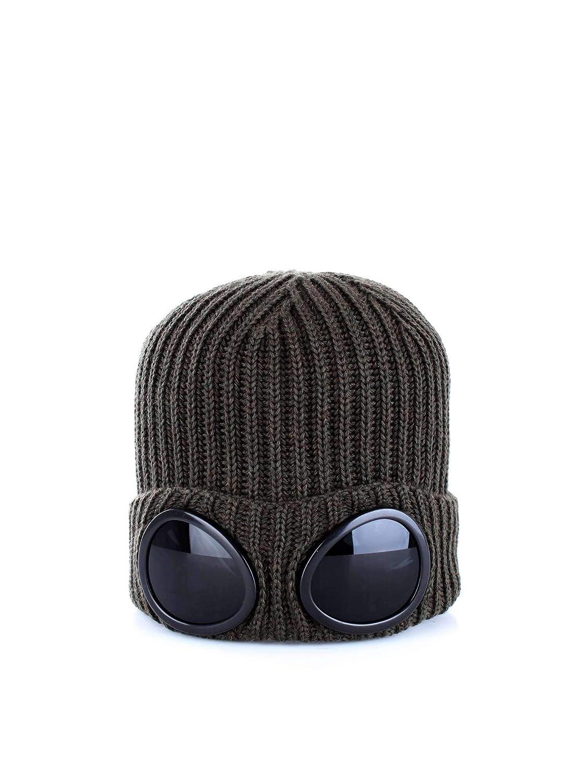 C.P. Company Mens Goggle Lens Beanie, Ribbed Gauze White Hat CP Company