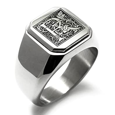 Amazon.com: Anillo de acero inoxidable con letra R del ...