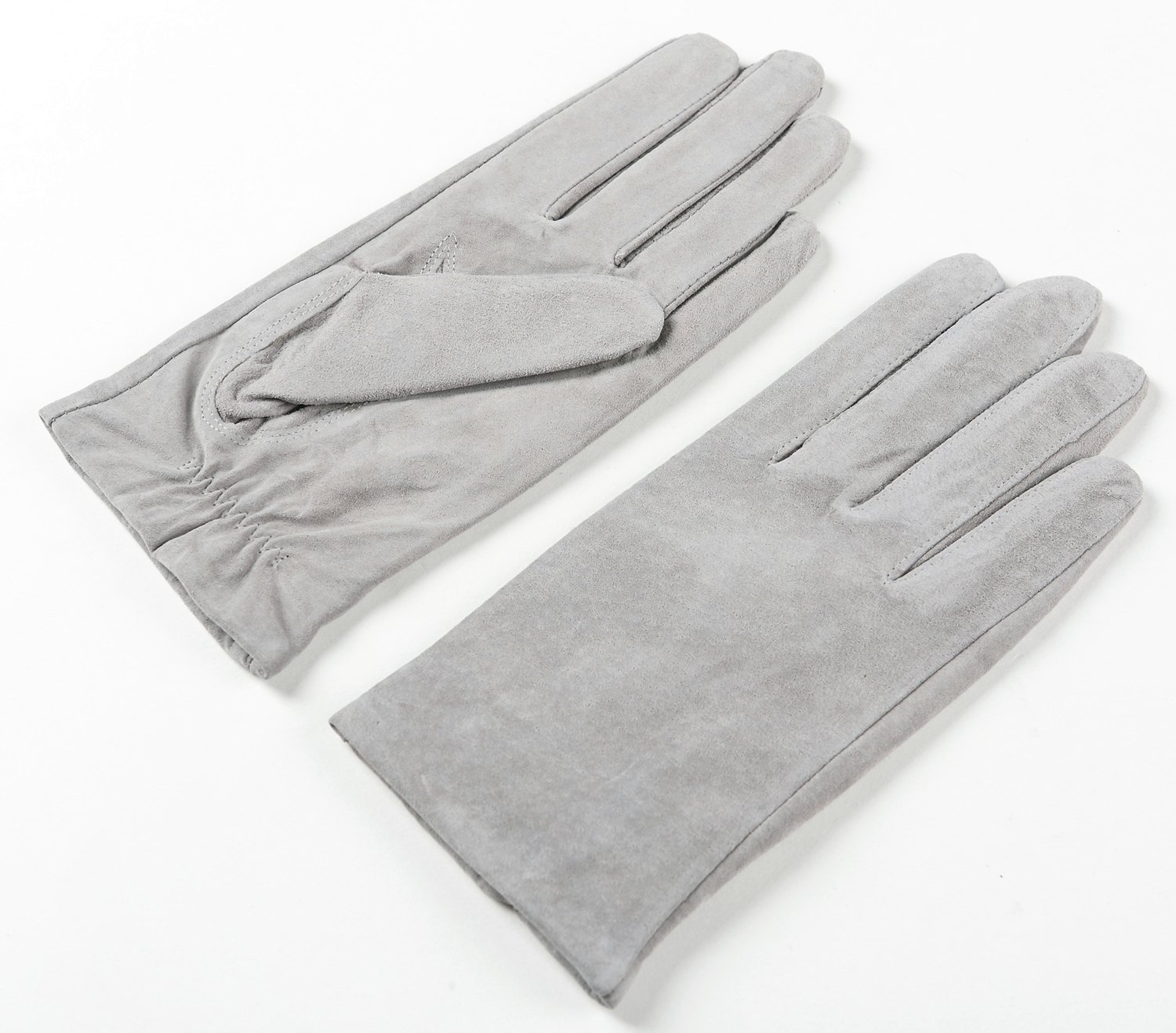 Ambesi Women's Fleece Lined Pig Suede Leather Winter Gloves Gray S