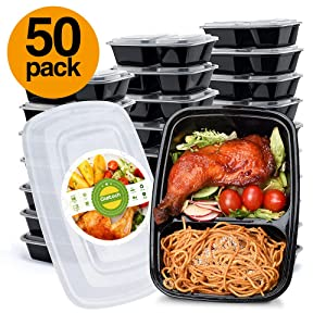 Glotoch 50pack 32ounce Food Storage Containers Set with Lid for Meal Prep and Portion Control in 2 Compartment Bento Box-Microwaveable, Freezer & Dishwasher Safe
