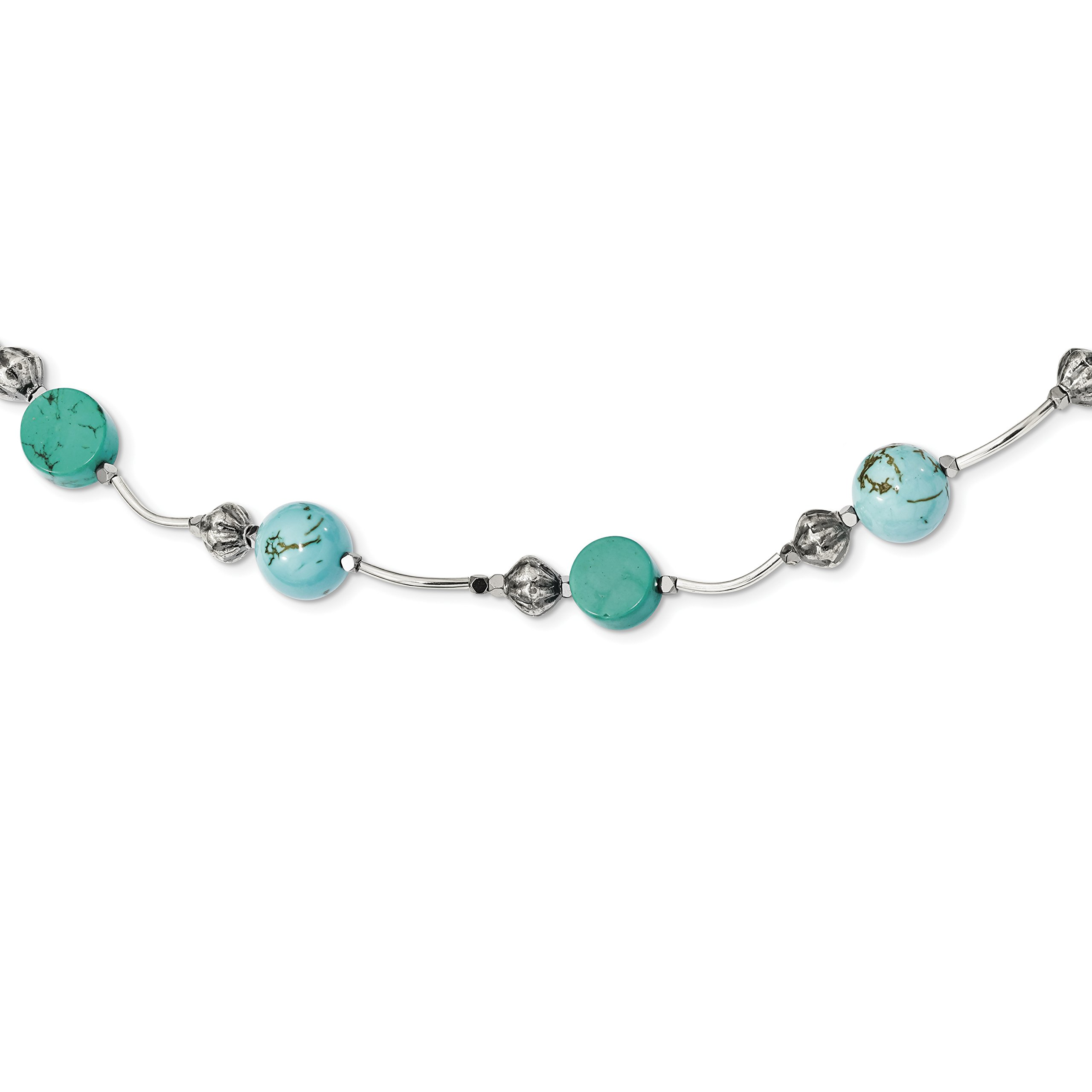ICE CARATS 925 Sterling Silver Hematite/recon. Blue Turquoise Magnesite 2 Inch Extension Chain Necklace Natural Stone Fine Jewelry Gift Set For Women Heart by ICE CARATS (Image #1)
