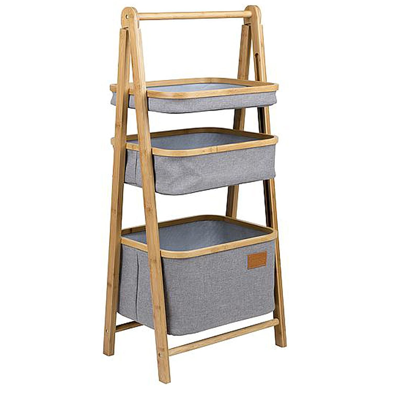 0618 Eleganter Faltschrank stabiler Bambusrahmen inklusive 3 Körbe • Aufbewahrung Korb Campingschrank Stoffschrank Zelt Organizer Schrank