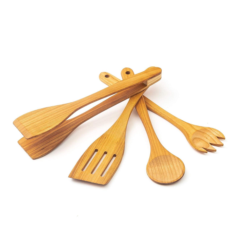 1x Couverts /à salade, 1x Spatule, 1x Pince /à Barbecue Tuuli Kitchen Enseble de Ustensiles Cuisine Bois de Cerisier Top Qualit/é
