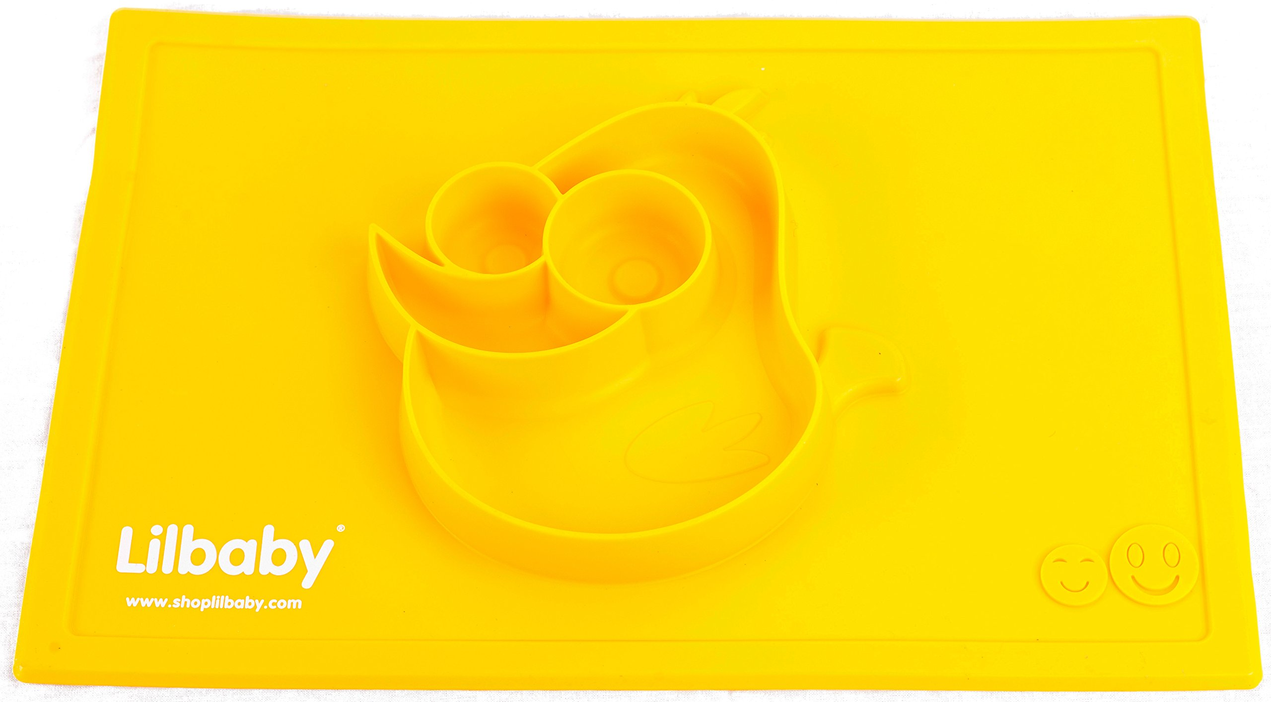Placemat and Plate Suction Silicone by Lilbaby (Bird, Yellow)