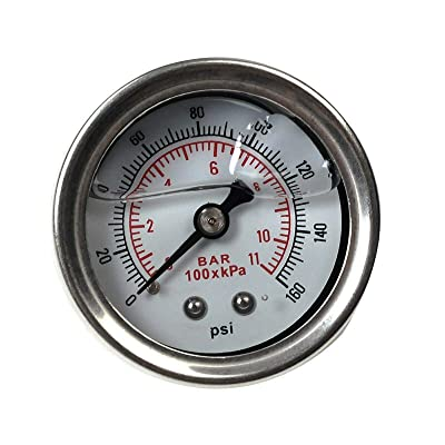SUPERFASTRACING 0-160 PSI Fuel Pressure Regulator gauge Liquid Fill chrome oil Gauge White: Automotive