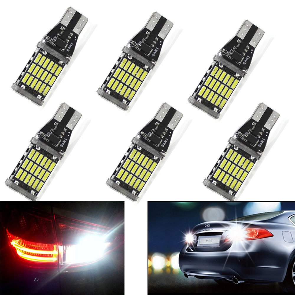 Gugou 1000 lumens Extremely Bright Xenon White 6000K Canbus Error Free 921 912 T10 T15//T20 AK-4014 45pcs Chipsets LED Bulbs for Backup Reverse Lights
