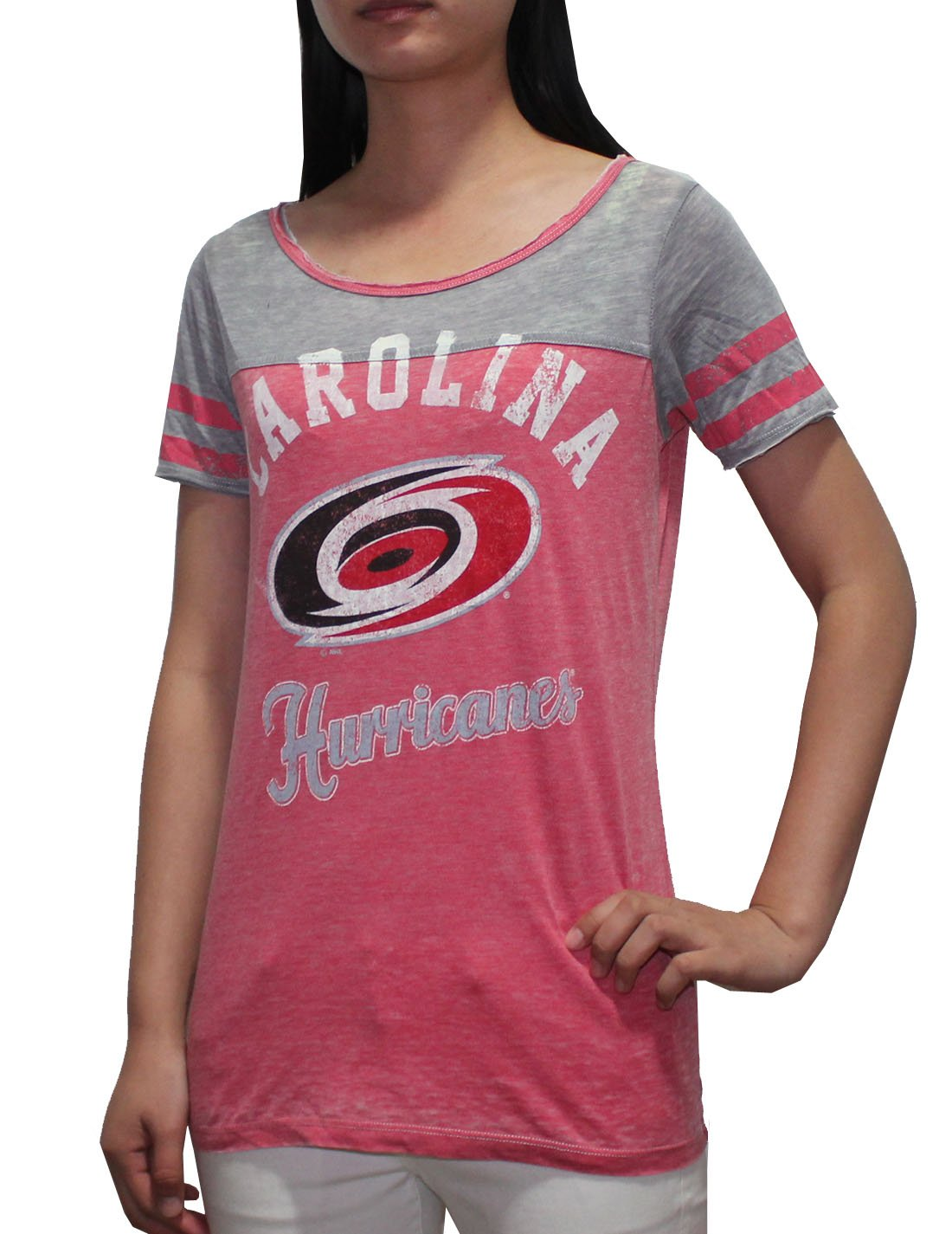 NHL Carolina Hurricanes Womens Crew-Neck Short Sleeve T Shirt (Vintage Look)