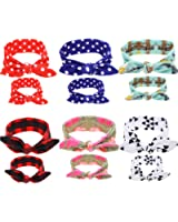 Gellwhu 12PCS Baby and Mom Headbands Bow and Knot Hair Bands Elastic Headwear