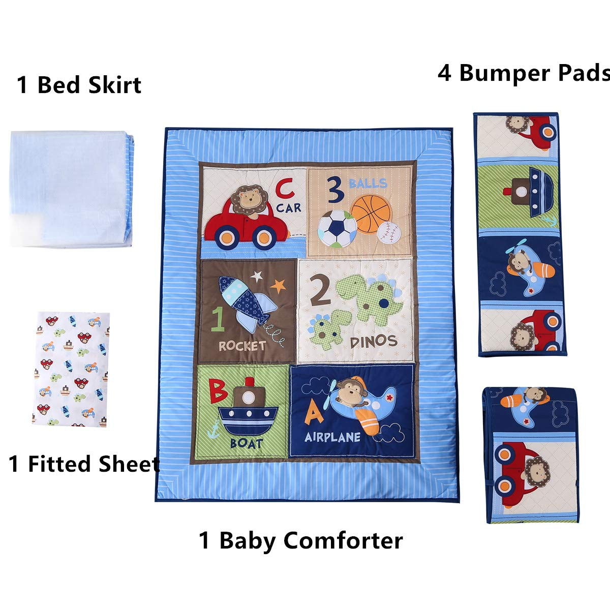 Wowelife Blue Crib Bedding Sets for Boys 7 Piece Travel Car and Airplane for Baby(Little Pilot) by Wowelife (Image #8)