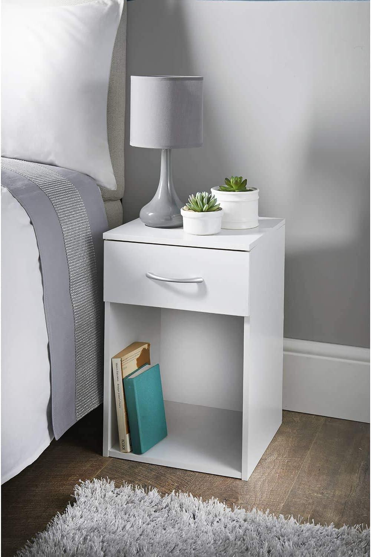 White W32 X D31.5 X H48Cm Biznest 1 Drawer Bedside Table