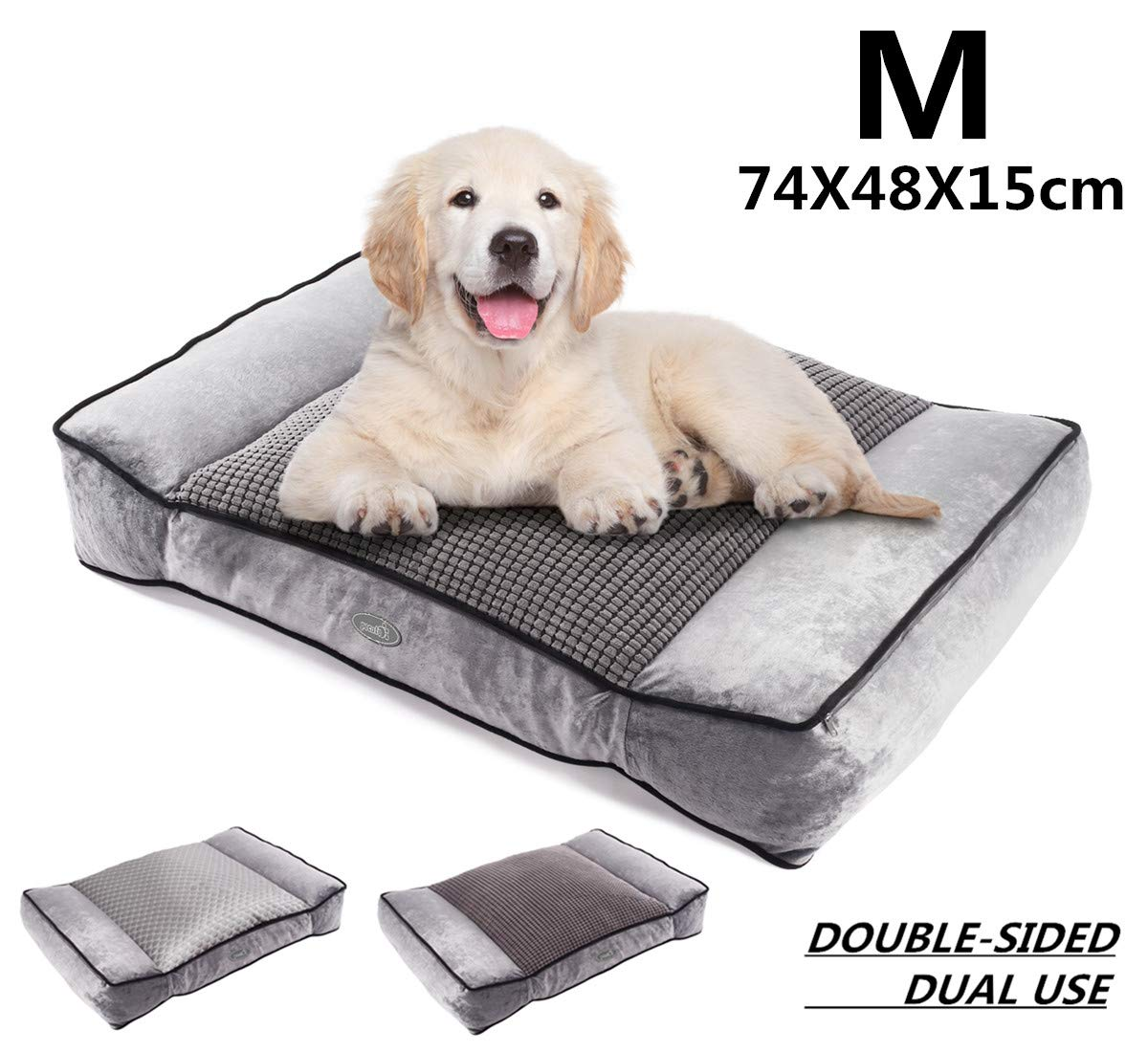 Pecute Medium Dog Bed(74X48cm), Shredded 15 cm Memory Foam Orthopaedic Pet Bed for Good Support,Warm Plush & Cool Silk Double Sided Design Four Seasons Available,Removable Cover Washable Easy to Clean