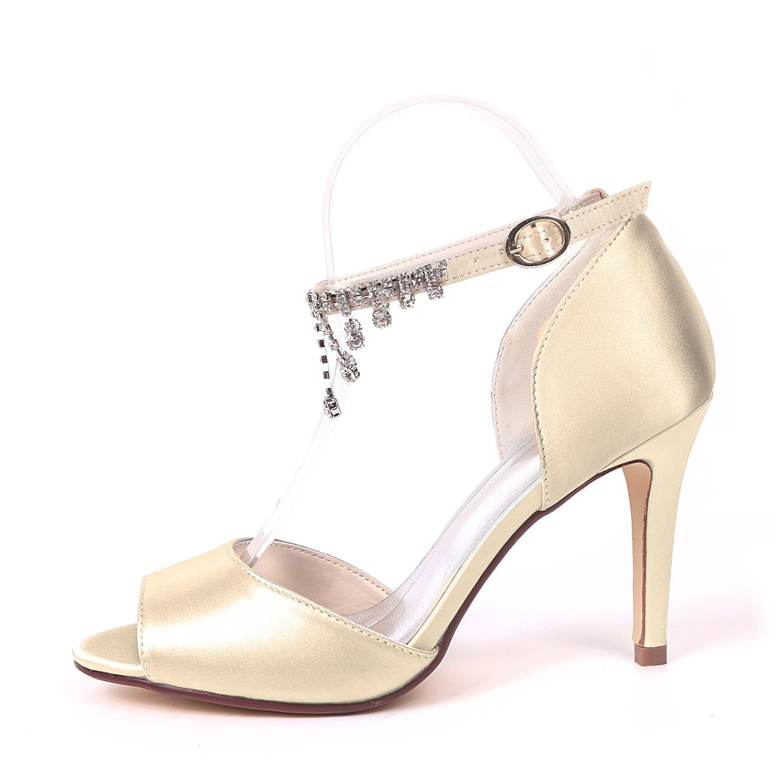 Elobaby Frauen Hochzeit Schuhe Satin Satin Satin Schnalle Abend Strass Zehen KäTzchen Peep Toe High Heels   9 cm Ferse  a37610
